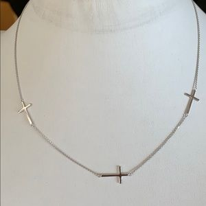 "Jewelry - Sterling Silver 3 Cross Necklace 18"" inches Chain"